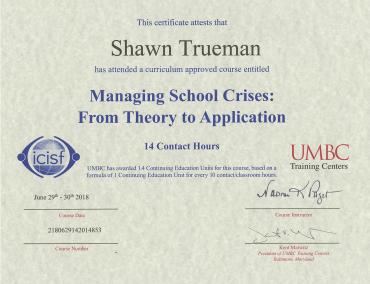 Managing School Crises Certificate